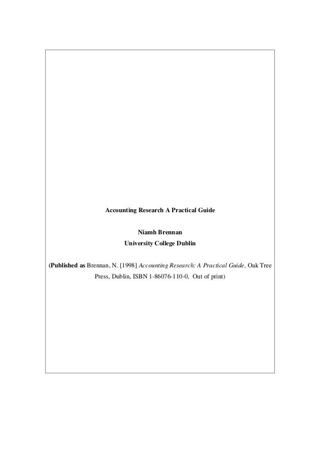 Accounting Research A Practical Guide                                Niamh Brennan                           University Co...