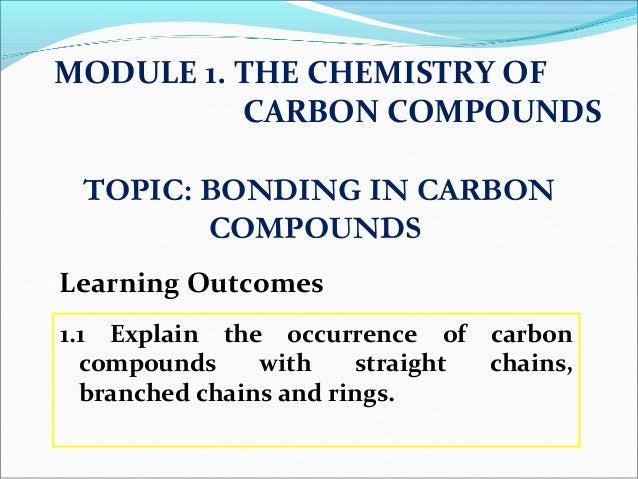 1.1 Explain the occurrence of carbon compounds with straight chains, branched chains and rings. MODULE 1. THE CHEMISTRY OF...