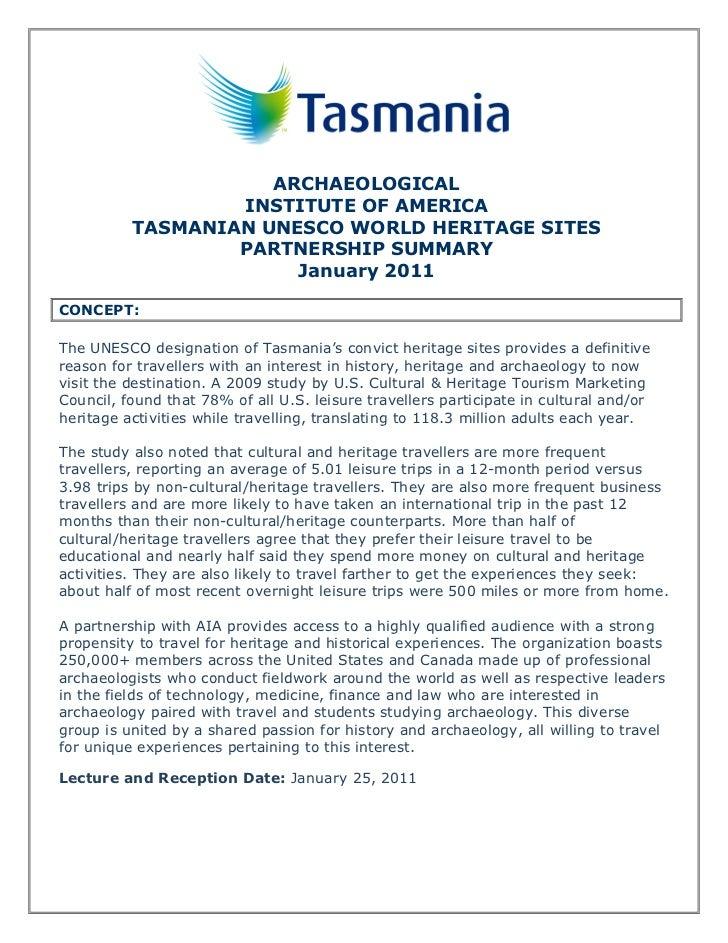 ARCHAEOLOGICAL                  INSTITUTE OF AMERICA          TASMANIAN UNESCO WORLD HERITAGE SITES                  PARTN...