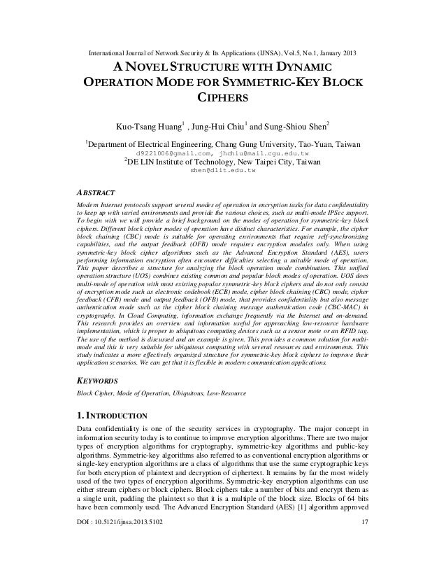 A Novel Structure with Dynamic Operation Mode for Symmetric-Key Block Ciphers