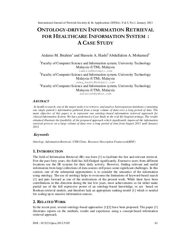 ONTOLOGY-DRIVEN INFORMATION RETRIEVAL  FOR HEALTHCARE INFORMATION SYSTEM :             A CASE STUDY