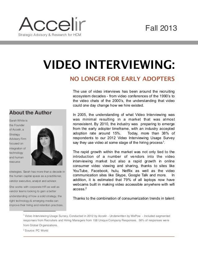 Video Interviewing Market Trends 2013 Whitepaper