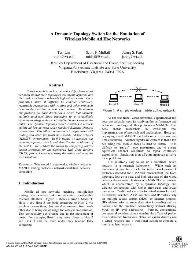 A Dynamic Topology Switch for the Emulation of                                         Wireless Mobile Ad Hoc Networks    ...