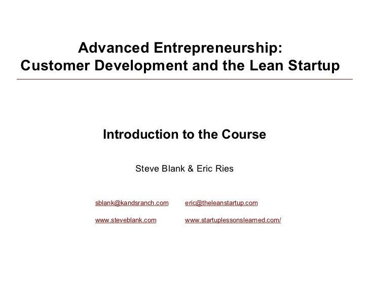 Customer Development/Lean Startup 011910 Class 1
