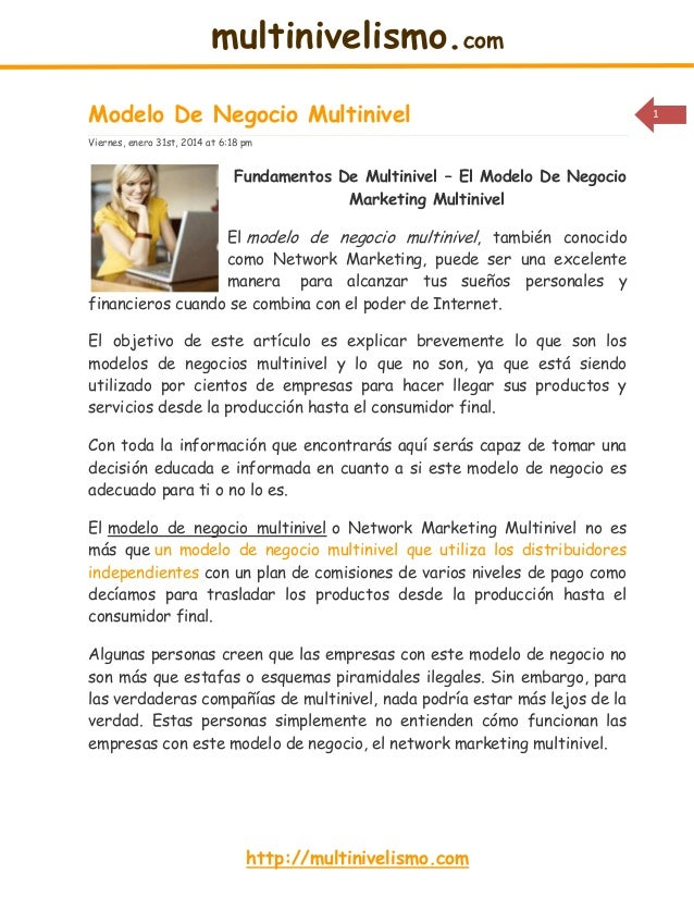multinivelismo.com Modelo De Negocio Multinivel Viernes, enero 31st, 2014 at 6:18 pm  Fundamentos De Multinivel – El Model...