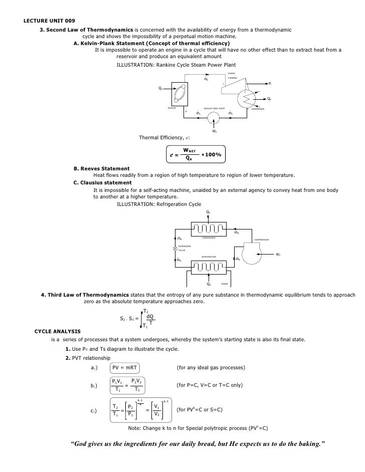 LECTURE UNIT 009    3. Second Law of Thermodynamics is concerned with the availability of energy from a thermodynamic     ...