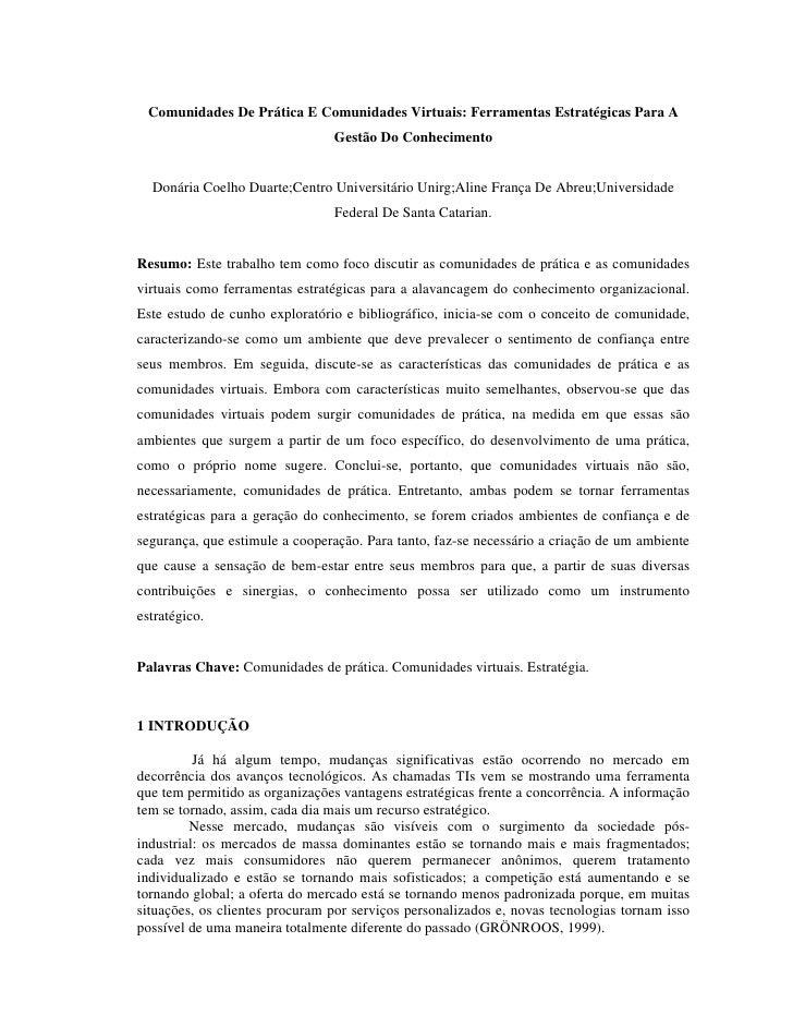 Comunidades De Prática E Comunidades Virtuais: Ferramentas Estratégicas Para A                                 Gestão Do C...
