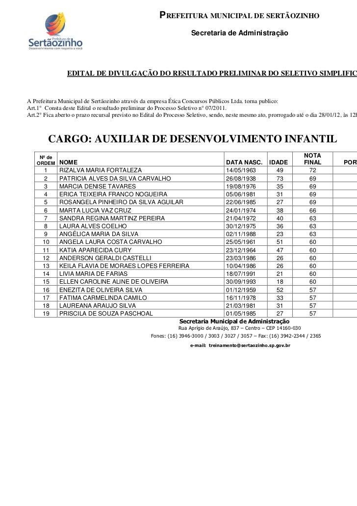 PREFEITURA MUNICIPAL DE SERTÃOZINHO                                                                   Secretaria de Admini...