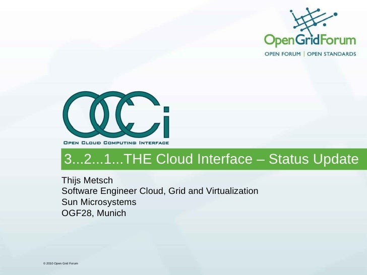 Open Cloud Computing Interface - OCCI Status update
