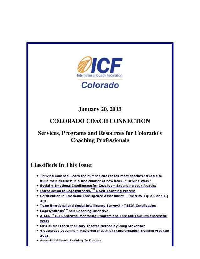 January 20, 2013 Colorado Coach Connection