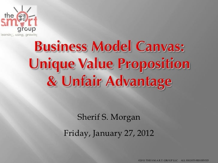 Business Model Canvas: Unique Value Proposition and Unfair Advantage