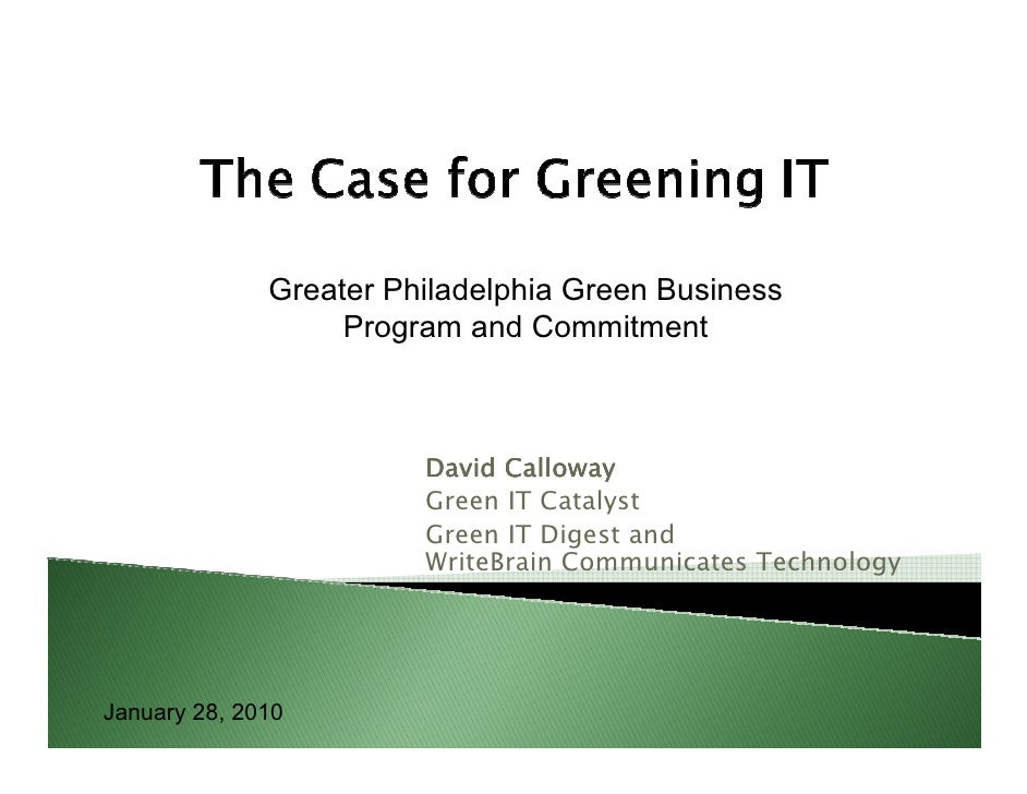 Greater Philadelphia Green Business                    Program and Commitment                            David Calloway   ...