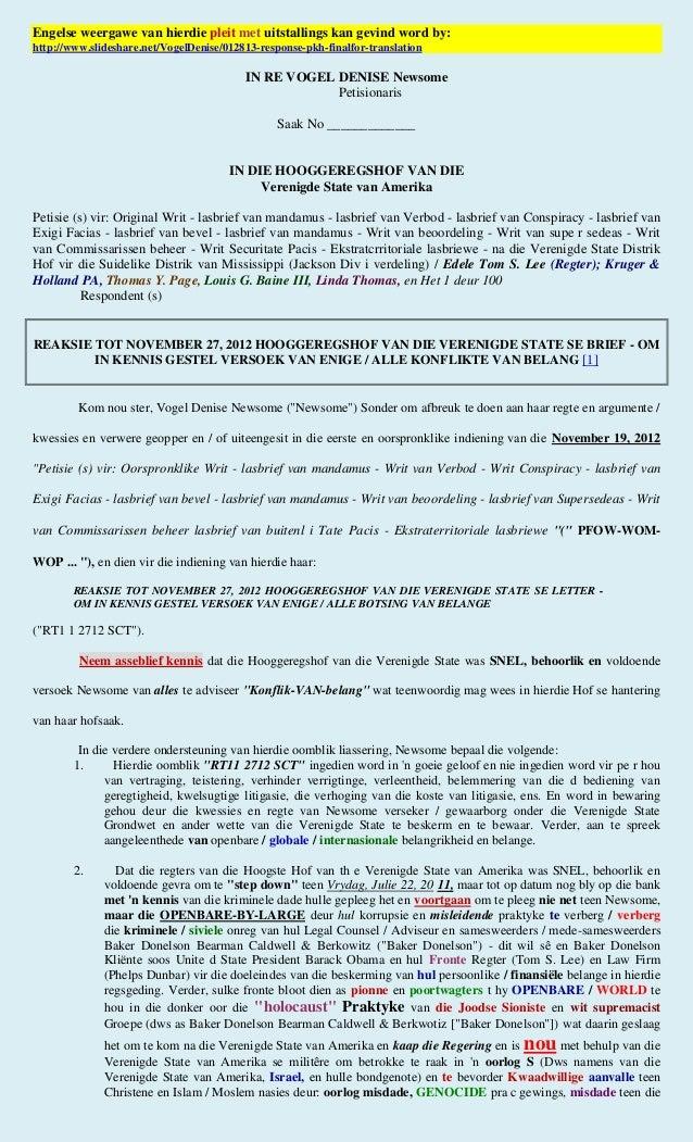 01/28/13 - US Supreme Court Response (afrikaans)