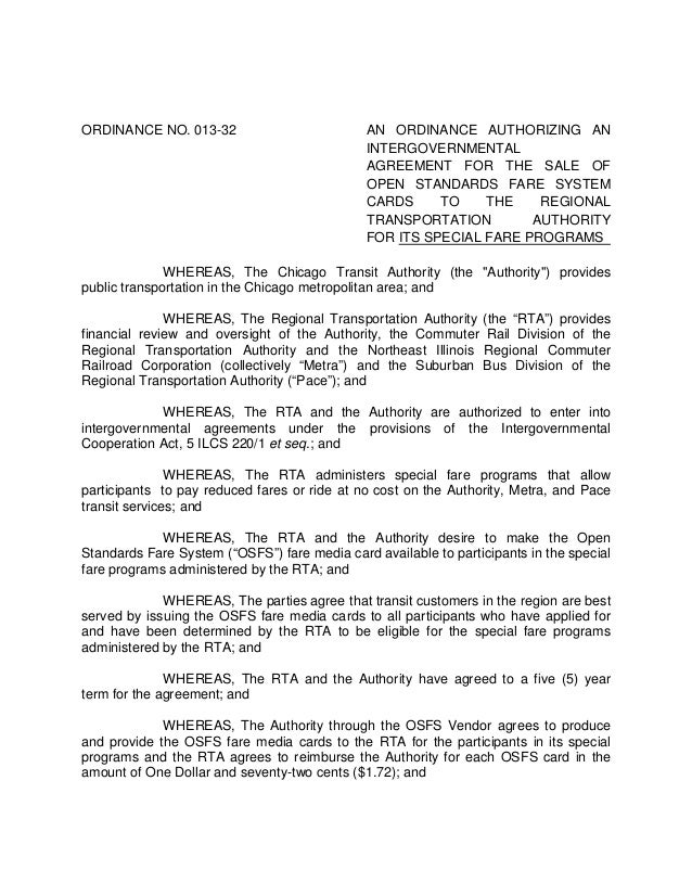 ORDINANCE NO. 013-32 AN ORDINANCE AUTHORIZING AN INTERGOVERNMENTAL AGREEMENT FOR THE SALE OF OPEN STANDARDS FARE SYSTEM CA...