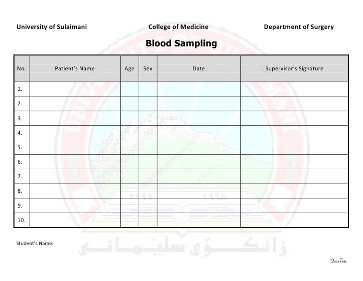 Surgery 6th year, Requirement Sheet (Blood Smapling)