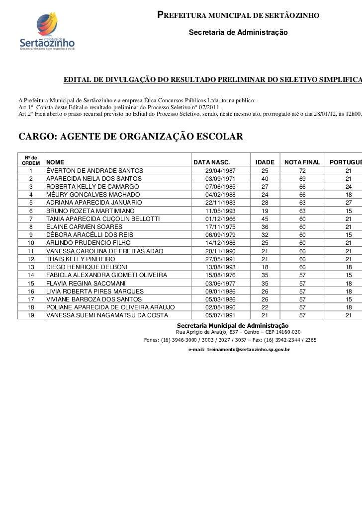Edital de divulgação do resultado preliminar - agente de organização escolar (25 de janeiro de 2012)