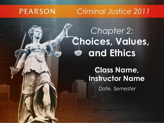 Criminal Justice 2011Class Name,Instructor NameDate, SemesterChapter 2:Choices, Values,and Ethics