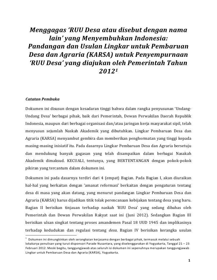 Menggagas 'RUU Desa atau disebut dengan nama          lain' yang Menyembuhkan Indonesia:    Pandangan dan Usulan Lingkar u...