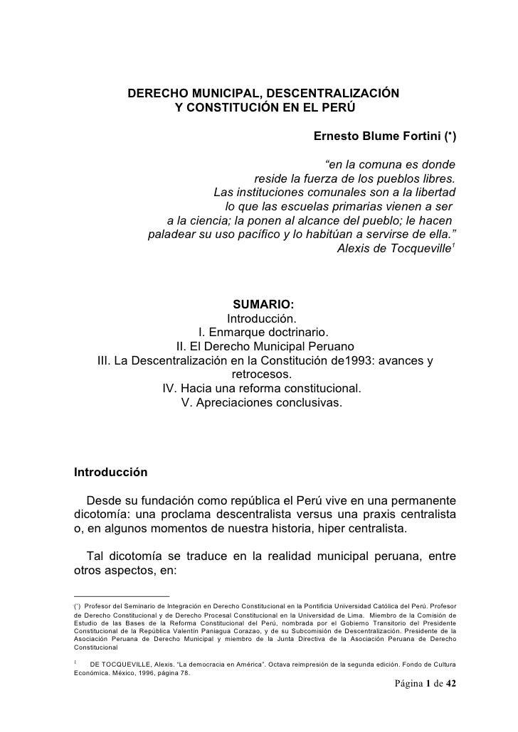 DERECHO MUNICIPAL, DESCENTRALIZACIÓN                       Y CONSTITUCIÓN EN EL PERÚ                                      ...
