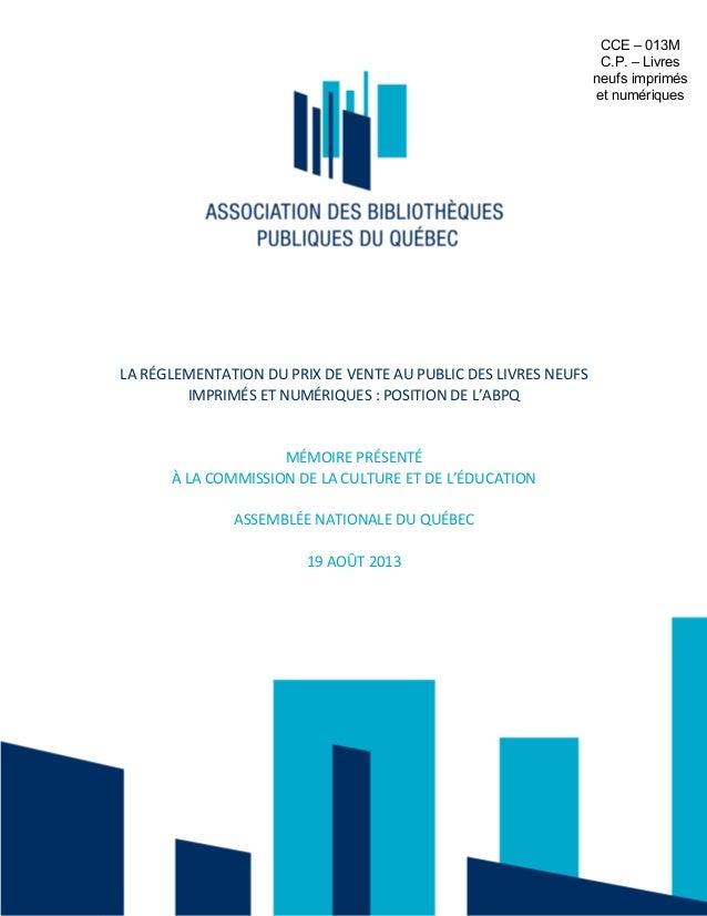 Prix unique du livre - Mémoire de l'Association des bibliothèques publiques du Québec