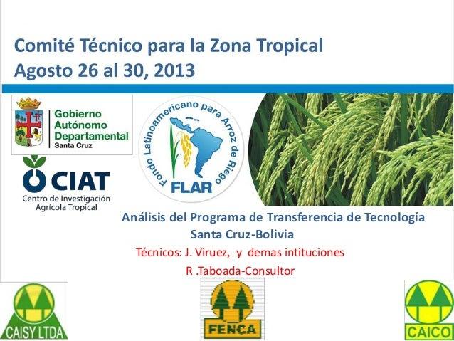 Análisis del Programa de Transferencia de Tecnología Santa Cruz-Bolivia Técnicos: J. Viruez, y demas intituciones R .Taboa...