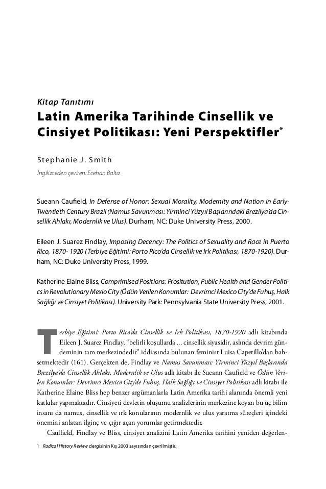 Latin Amerika Tarihinde Cinsellik ve Cinsiyet Politikası: Yeni Perspektifler - Stephanie J. Smith