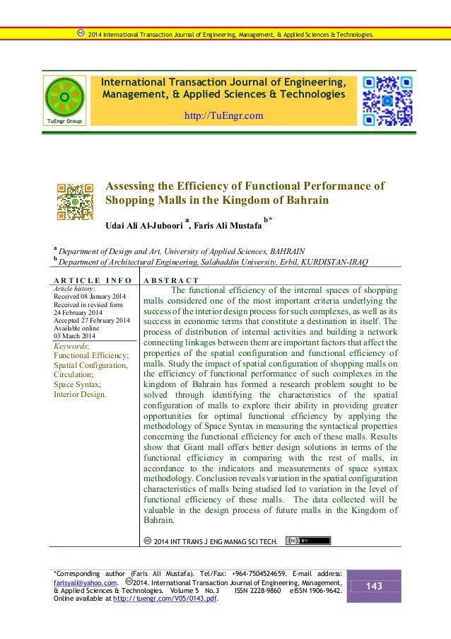 International Transaction Journal of Engineering, Management, & Applied Sciences & Technologies http://TuEngr.com Assessin...