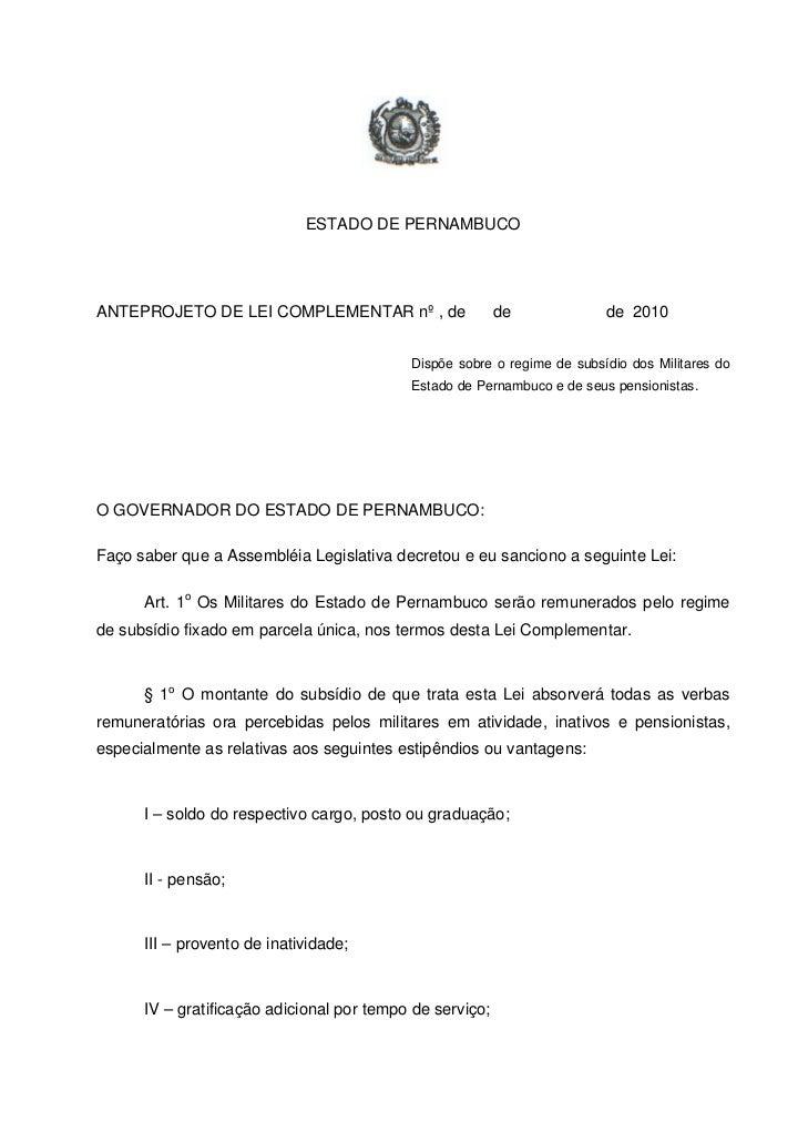 ESTADO DE PERNAMBUCOANTEPROJETO DE LEI COMPLEMENTAR nº , de                   de             de 2010                      ...