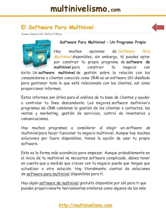 multinivelismo.com El Software Para Multinivel Jueves, febrero 6th, 2014 at 7:55 pm  Software Para Multinivel – Un Program...