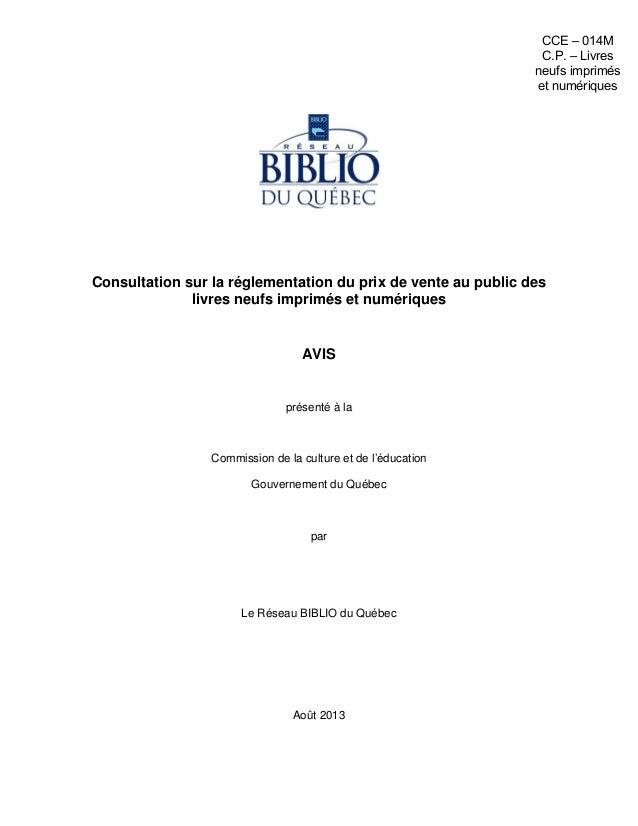 Prix unique du livre - Mémoire du Réseau BIBLIO du Québec