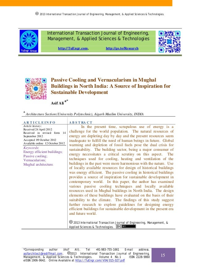 Passive Cooling and Vernacularism in Mughal Buildings in North India: A Source of Inspiration for Sustainable Development