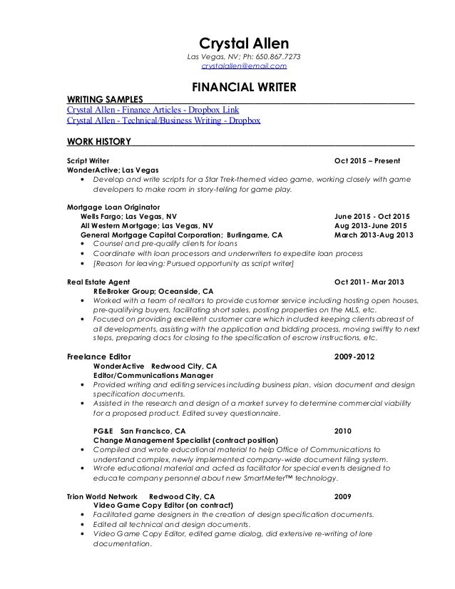 resume crystal allen financialwriter