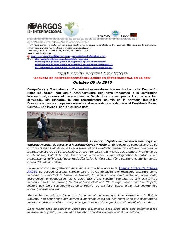 'CAMACOL' 'FELAP' DIRECCION GENERAL DE INFORMACIONDIRECCION GENERAL DE INFORMACION …'El gran poder mundial no ha encontrad...