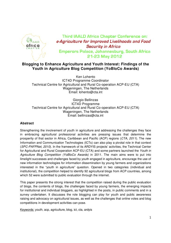 Blogging to Enhance Agriculture and Youth Interest: Findings of the      Youth in Agriculture Blog Competition (YoBloCo Aw...