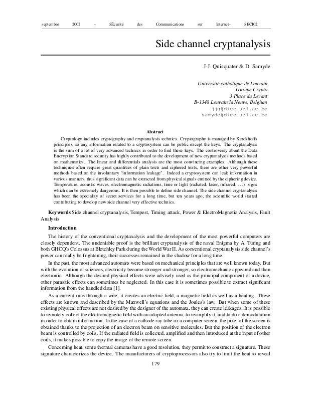 septembre 2002 – SÉcurité des Communications sur Internet– SECI02Side channel cryptanalysisJ-J. Quisquater & D. SamydeUniv...