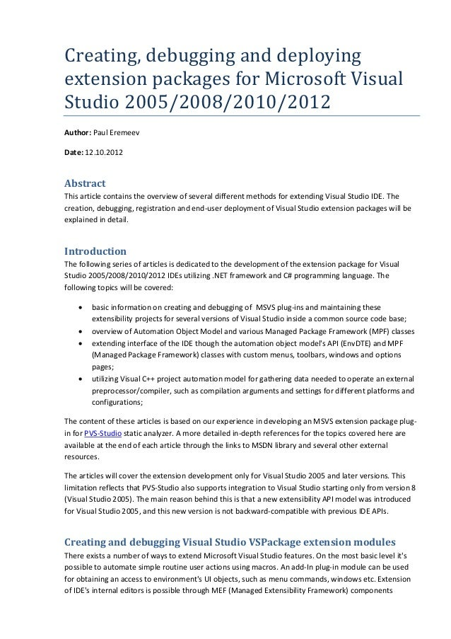 Creating, debugging and deploying extension packages for Microsoft Visual Studio 2005/2008/2010/2012