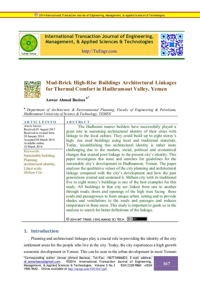 International Transaction Journal of Engineering, Management, & Applied Sciences & Technologies http://TuEngr.com Mud-Bric...