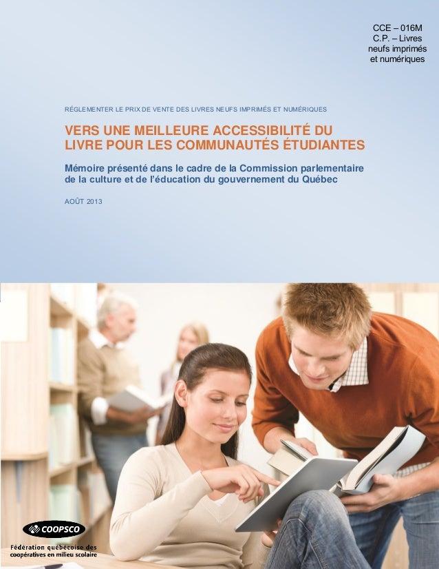Prix unique du livre - Mémoire de la Fédération québécoise des coopératives en milieu scolaire (bannière Coopsco)