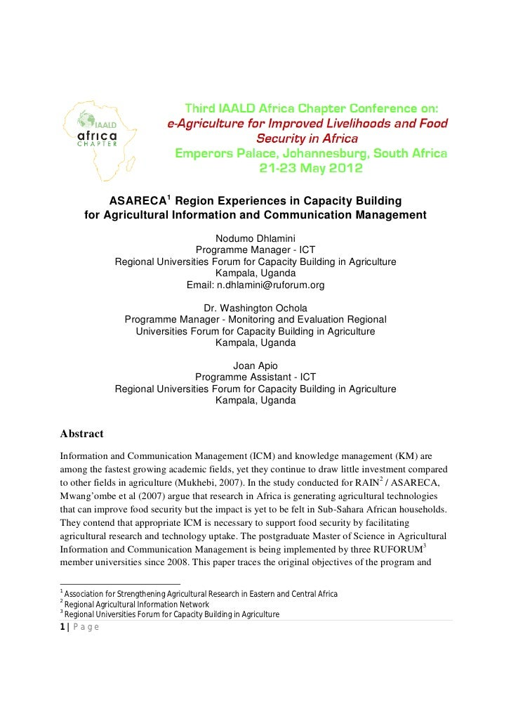 ASARECA1 Region Experiences in Capacity Building       for Agricultural Information and Communication Management          ...