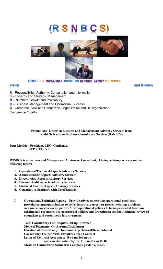 Promotional Letter On Business And Management Advisory