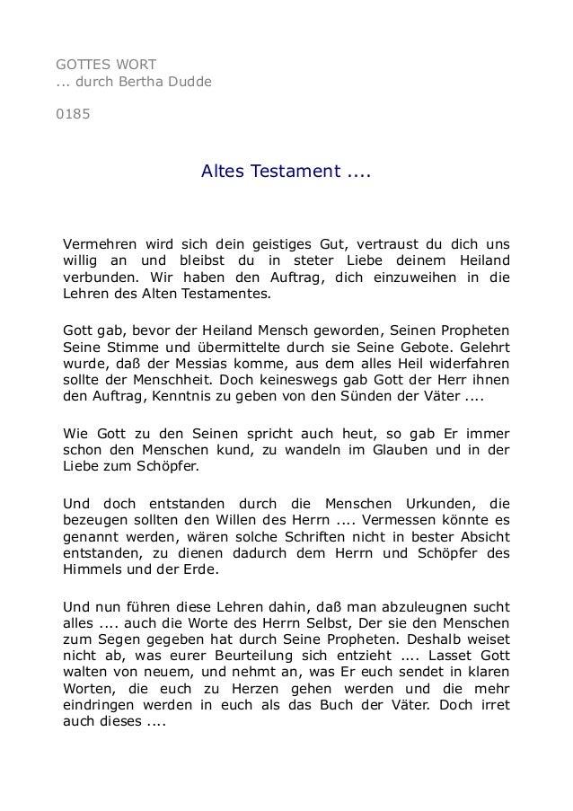 GOTTES WORT ... durch Bertha Dudde 0185 Altes Testament .... Vermehren wird sich dein geistiges Gut, vertraust du dich uns...
