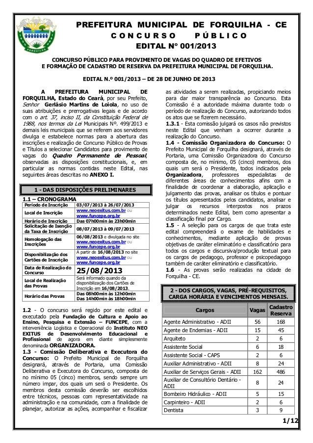 PREFEITURA MUNICIPAL DE FORQUILHA - CE C O N C U R S O P Ú B L I C O EDITAL Nº 001/2013 1/12 CONCURSO PÚBLICO PARA PROVIME...