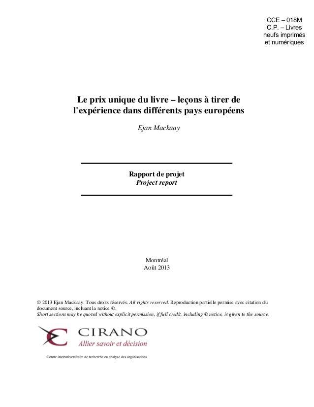 Prix unique du livre - Mémoire de Ejan Mackaay, faculté de droit, Université de Montréal