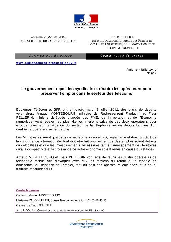 ARNAUD MONTEBOURG                                         FLEUR PELLERIN   MINISTRE DU REDRESSEMENT PRODUCTIF             ...