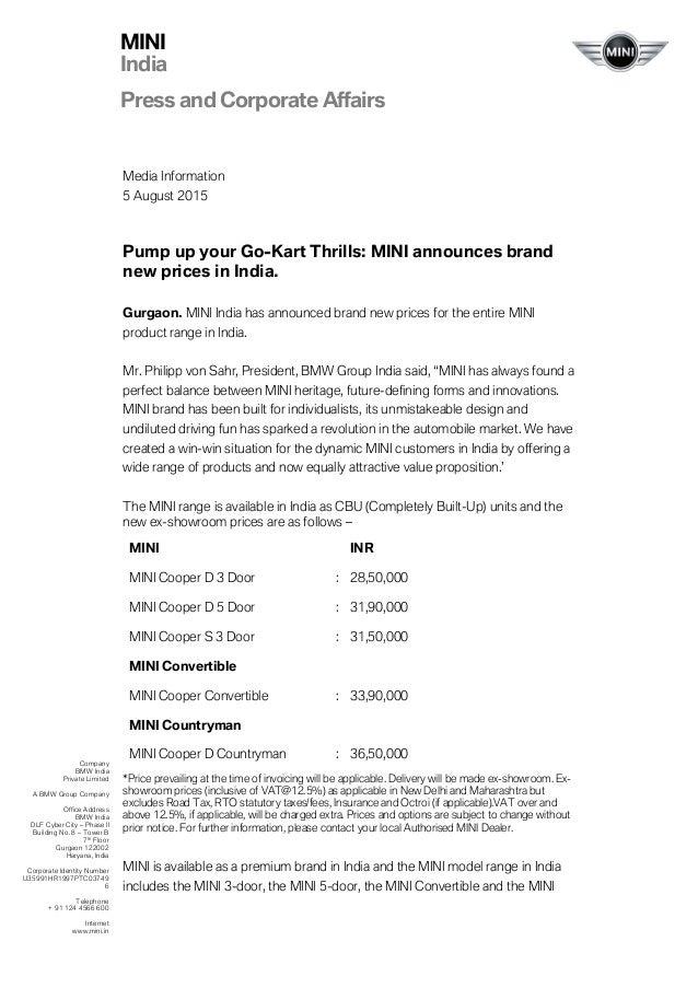 mini india price list 2015
