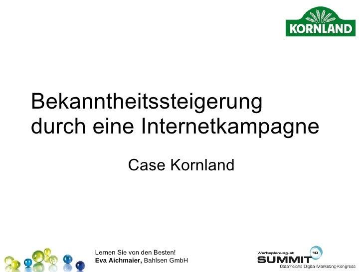 Bekanntheitssteigerung durch eine Internetkampagne Case Kornland
