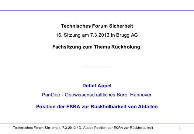 Technisches Forum Sicherheit, 7.3.2013 / D. Appel: Position der EKRA zur Rückholbarkeit 1 Technisches Forum Sicherheit 16....