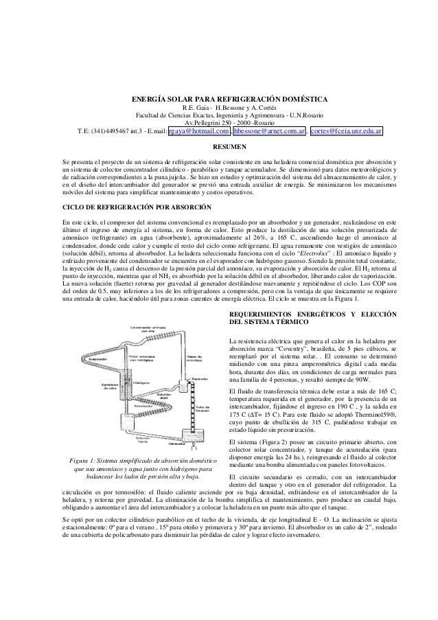 ENERGÍA SOLAR PARA REFRIGERACIÓN DOMÉSTICA                                           R.E. Gaia - H.Bessone y A. Cortés    ...