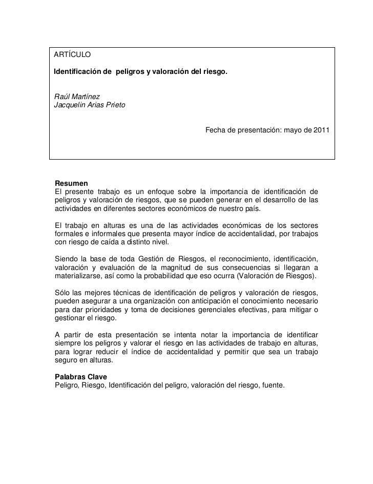 ARTÍCULOIdentificación de peligros y valoración del riesgo.Raúl MartínezJacquelin Arias Prieto                            ...