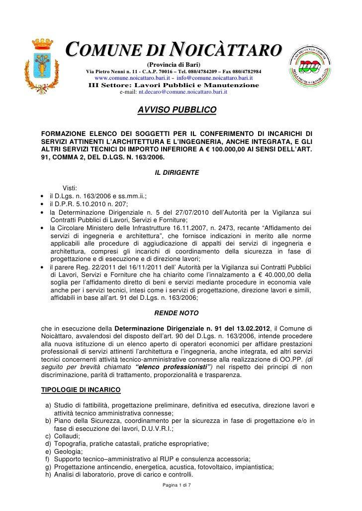 COMUNE DI NOICÀTTARO                                         (Provincia di Bari)                Via Pietro Nenni n. 11 - C...